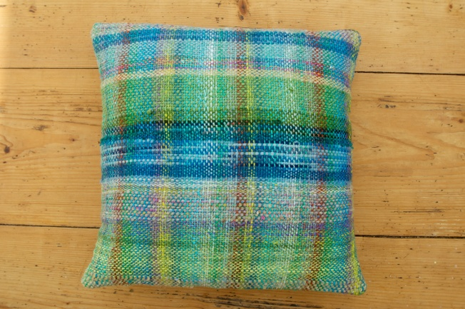 bluebell wood inspired weavings made into cushions