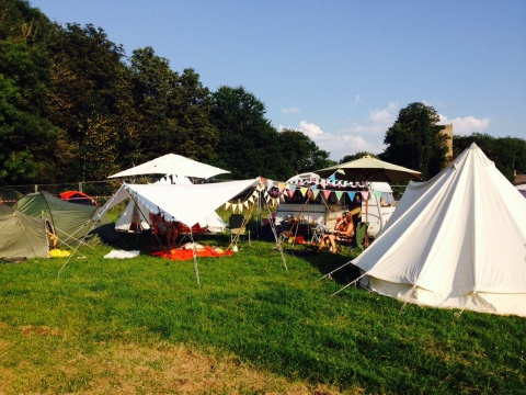 Calm before the action. We set up our camp then the yurts ready for workshops in the kids field.